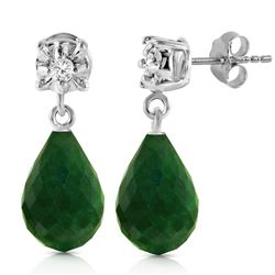 ALARRI 17.66 Carat 14K Solid White Gold Stud Earrings Diamond Emerald