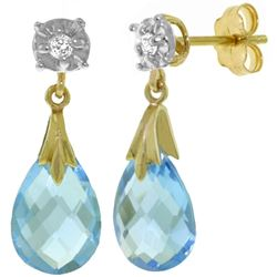 ALARRI 6.06 CTW 14K Solid Gold Stud Earrings Diamond Blue Topaz