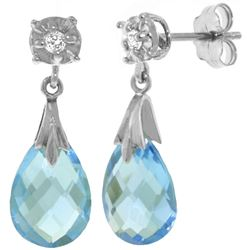 ALARRI 6.06 Carat 14K Solid White Gold Stud Earrings Diamond Blue Topaz