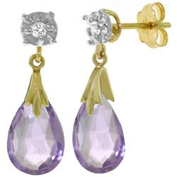 ALARRI 6.06 Carat 14K Solid Gold Stud Earrings Diamond Amethyst
