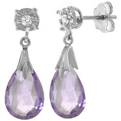 ALARRI 6.06 Carat 14K Solid White Gold Stud Earrings Diamond Amethyst