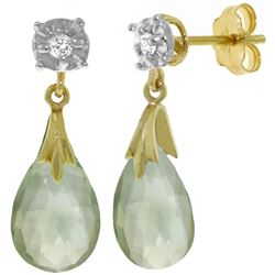 ALARRI 6.06 CTW 14K Solid Gold Stud Earrings Diamond Green Amethyst