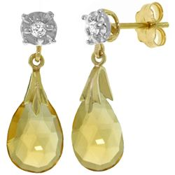 ALARRI 6.06 Carat 14K Solid Gold Stud Earrings Diamond Citrine