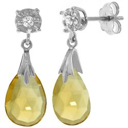 ALARRI 6.06 CTW 14K Solid White Gold Stud Earrings Diamond Citrine