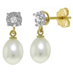 ALARRI 8.06 Carat 14K Solid Gold Sailing Silently Pearl Diamond Earrings