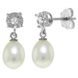 ALARRI 8.06 CTW 14K Solid White Gold Afterglow Pearl Diamond Earrings