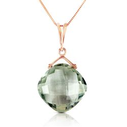 ALARRI 14K Solid Rose Gold Necklace w/ Natural Checkerboard Cut Green Amethyst