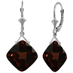 ALARRI 17.5 Carat 14K Solid White Gold Leverback Earrings Checkerboard Cut Garnet