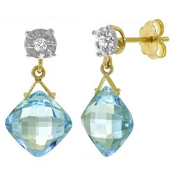 ALARRI 17.56 Carat 14K Solid Gold Many A Morning Blue Topaz Diamond Earrings