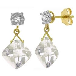 ALARRI 17.56 Carat 14K Solid Gold Doubting Heart White Topaz Diamond Earrings