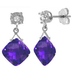 ALARRI 17.56 Carat 14K Solid White Gold Bare Soul Amethyst Diamond Earrings