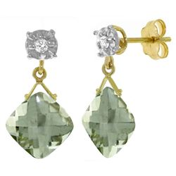 ALARRI 17.56 Carat 14K Solid Gold Come To My Garden Green Amethyst Diamond Earrings