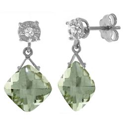 ALARRI 17.56 Carat 14K Solid White Gold Secure Soul Green Amethyst Diamond Earrings