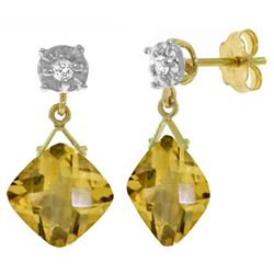 ALARRI 17.56 CTW 14K Solid Gold Honor Of The Sun Citrine Diamond Earrings