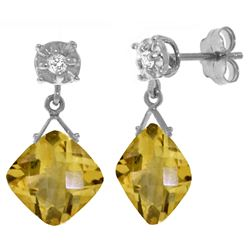 ALARRI 17.56 CTW 14K Solid White Gold Dare To Love Citrine Diamond Earrings