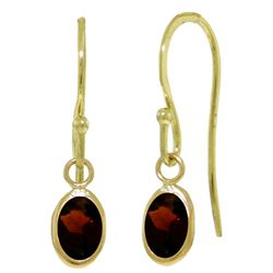 ALARRI 1 Carat 14K Solid Gold Fish Hook Earrings Garnet