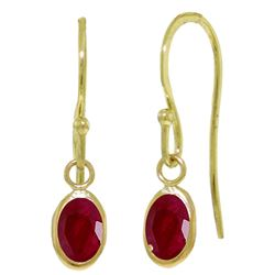 ALARRI 1 Carat 14K Solid Gold Fish Hook Earrings Natural Ruby