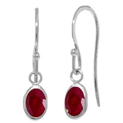ALARRI 1 Carat 14K Solid White Gold Fish Hook Earrings Natural Ruby