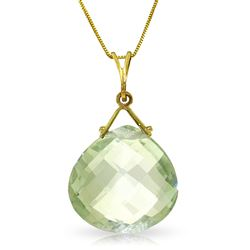 ALARRI 8.5 CTW 14K Solid Gold Y-e-s Green Amethyst Necklace