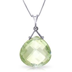 ALARRI 8.5 Carat 14K Solid White Gold Love Like Ballet Green Amethyst Necklace