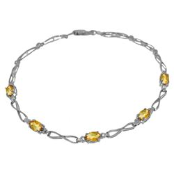 ALARRI 1.16 Carat 14K Solid White Gold Tennis Bracelet Citrine Diamond