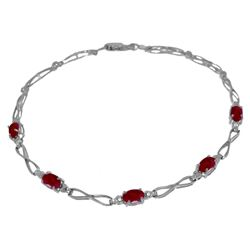 ALARRI 1.16 Carat 14K Solid White Gold Kiss Your Lips Ruby Diamond Bracelet