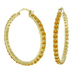 ALARRI 6 Carat 14K Solid Gold Alana Citrine Hoop Earrings