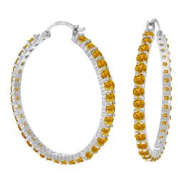 ALARRI 6 Carat 14K Solid White Gold Mysterious Wave Citrine Earrings