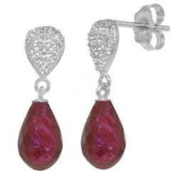 ALARRI 6.63 Carat 14K Solid White Gold Eyes On Fire Ruby Diamond Earrings