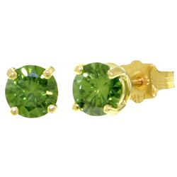 ALARRI 1 Carat 14K Solid Gold Stud Earrings 1.0 Carat Natural Green Diamond