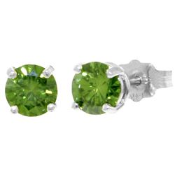 ALARRI 1 CTW 14K Solid White Gold Stud Earrings 1.0 Carat Natural Green Diamond