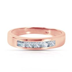 ALARRI 14K Solid Rose Gold Rings w/ Natural Aquamarines
