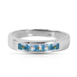 ALARRI 0.6 CTW 14K Solid White Gold Looking Glass Blue Topaz Ring