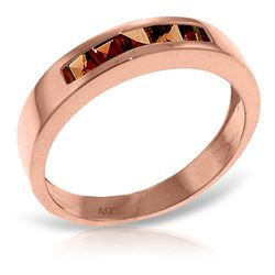 ALARRI 14K Solid Rose Gold Rings w/ Natural Garnets
