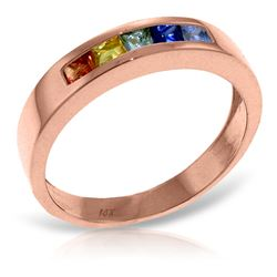 ALARRI 0.6 Carat 14K Solid Rose Gold Rings Natural Multicolor Sapphire