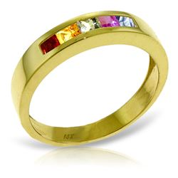 ALARRI 0.6 CTW 14K Solid Gold Earn A Surprise Multicolor Sapphire Ring
