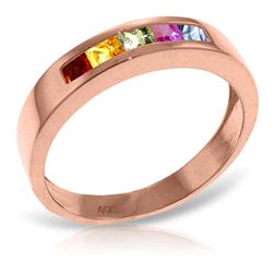 ALARRI 14K Solid Rose Gold Rings w/ Natural Multicolor Sapphires