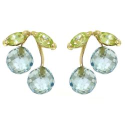 ALARRI 2.9 Carat 14K Solid Gold Earrings Blue Topaz Peridot