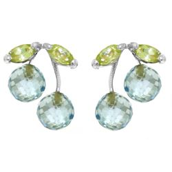 ALARRI 2.9 Carat 14K Solid White Gold Earrings Blue Topaz Peridot