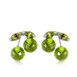 ALARRI 2.9 Carat 14K Solid White Gold Deeply Attached Peridot Earrings