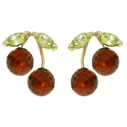 ALARRI 2.9 Carat 14K Solid Gold Earrings Garnet Peridot