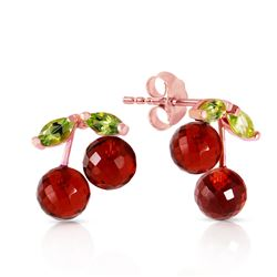 ALARRI 14K Solid Rose Gold Earrings w/ Garnets & Peridots
