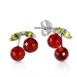 ALARRI 2.9 Carat 14K Solid White Gold Earrings Garnet Peridot