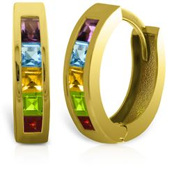 ALARRI 1 Carat 14K Solid Gold Hoop Huggie Earrings Multi Gemstones