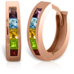 ALARRI 14K Solid Rose Gold Hoop Huggie Earrings w/ Multi Gemstones