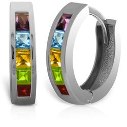 ALARRI 1 Carat 14K Solid White Gold Hoop Huggie Earrings Multi Gemstones