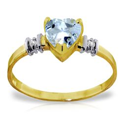 ALARRI 0.98 Carat 14K Solid Gold Ring Natural Aquamarine Diamond