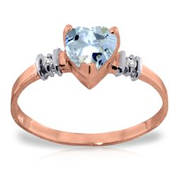 ALARRI 14K Solid Rose Gold Ring w/ Natural Aquamarine & Diamond