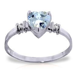ALARRI 0.98 Carat 14K Solid White Gold Ring Natural Aquamarine Diamond