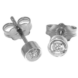ALARRI 0.03 Carat 14K Solid White Gold Ice Charm Diamond Earrings
